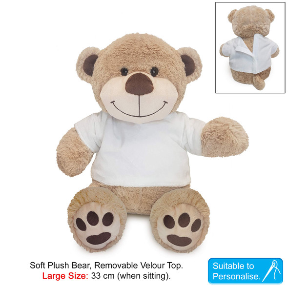 Personalised Large Brown Communion Teddy With T-Shirt