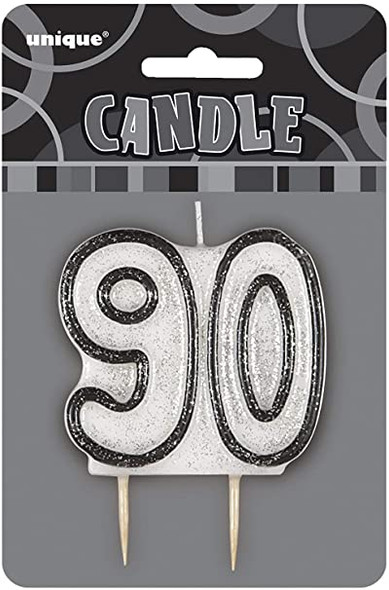 Black 90th Birthday Candle