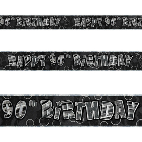 Black 90th Birthday Banner