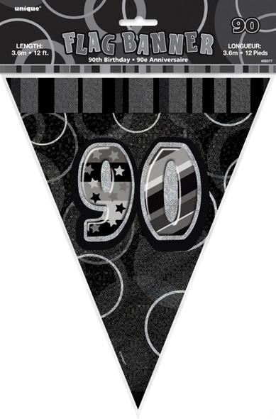 Black 90th Birthday Bunting