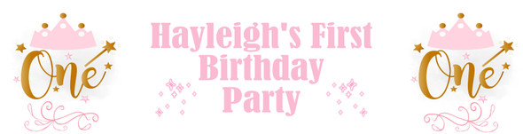 Personalised Pink & Gold 1st Birthday Banner