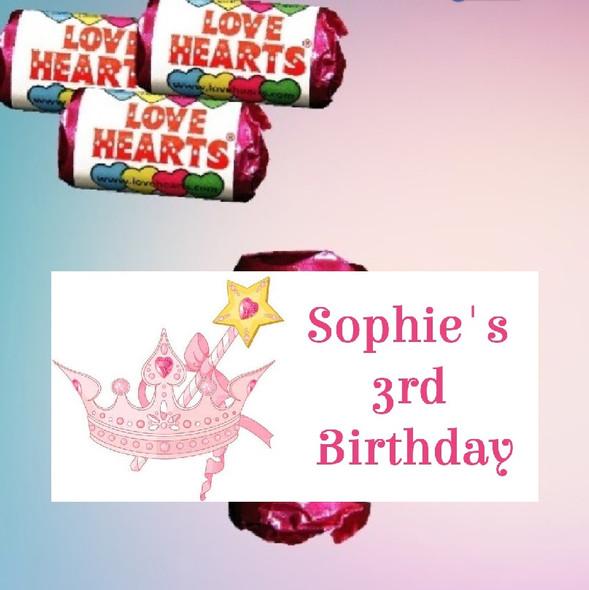 9Pk Personalised Pink Princess Love Heart Sweets