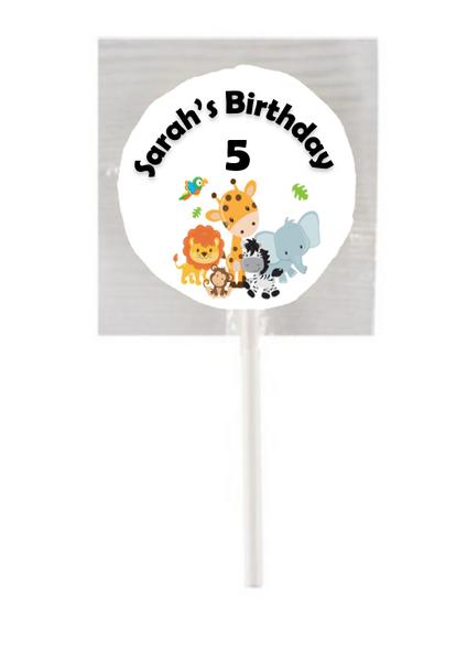 15PK Safari Animals Lollipops