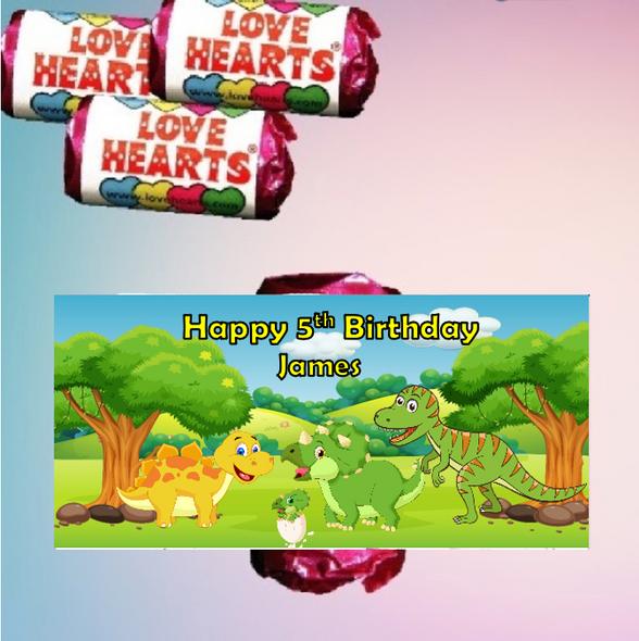 9Pk Dinosaur Loveheart Sweets