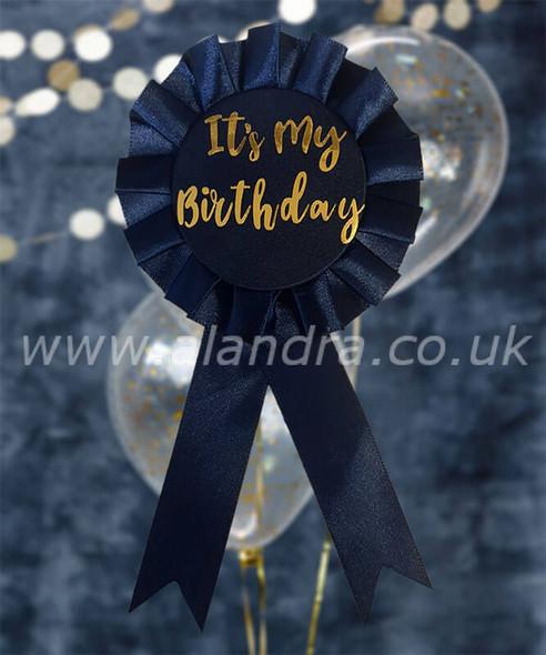 Navy Its My Birthday Rosette