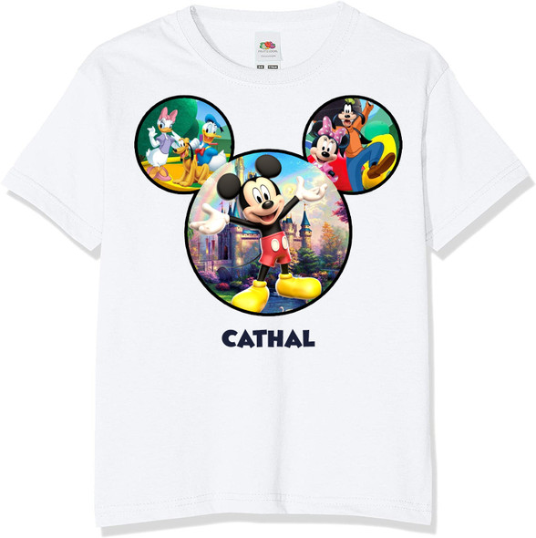 Personalised Mickey Mouse Castle T-Shirt