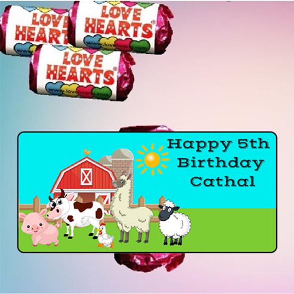 9Pk Farm Animals Love Heart Sweets