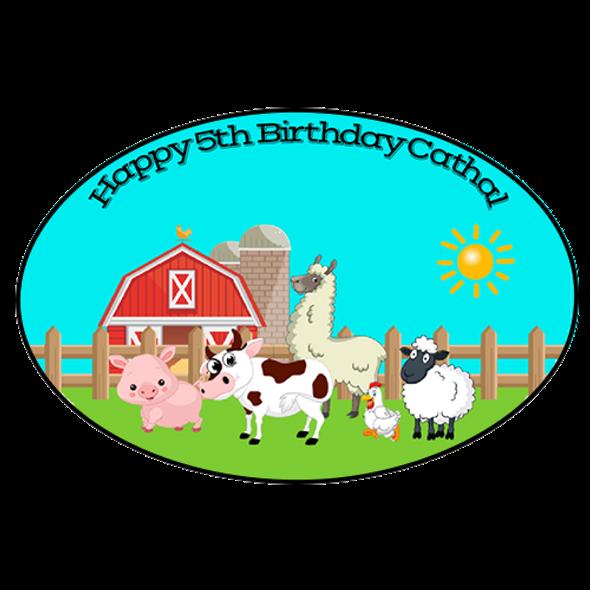 8Pk Farm Animals Oval Labels
