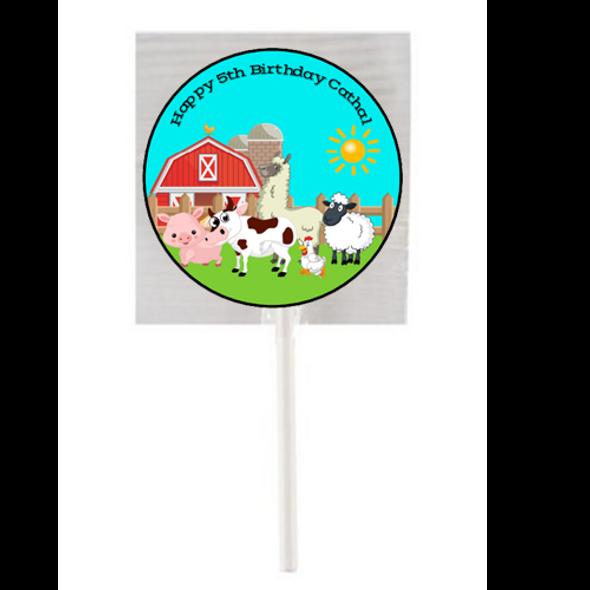 15PK Farm Animals Lollipops