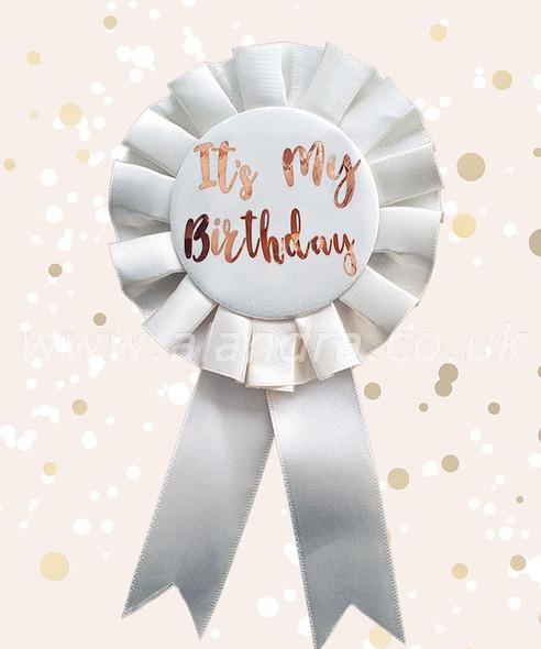 Cream & Gold Its My Birthday Rosette Badge
