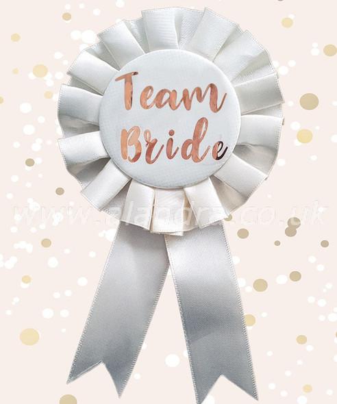 Cream & Gold Team Bride Rosette Badge
