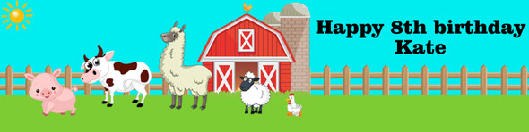 Personalised Farm Animal Party Banner