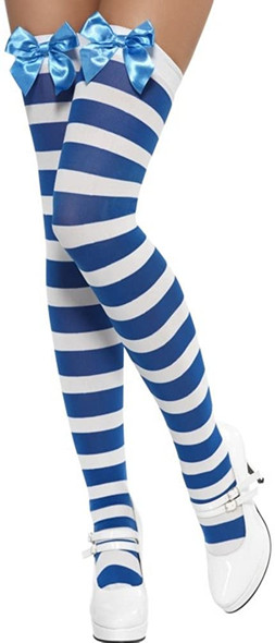 Blue Thigh High Stockings with Bow