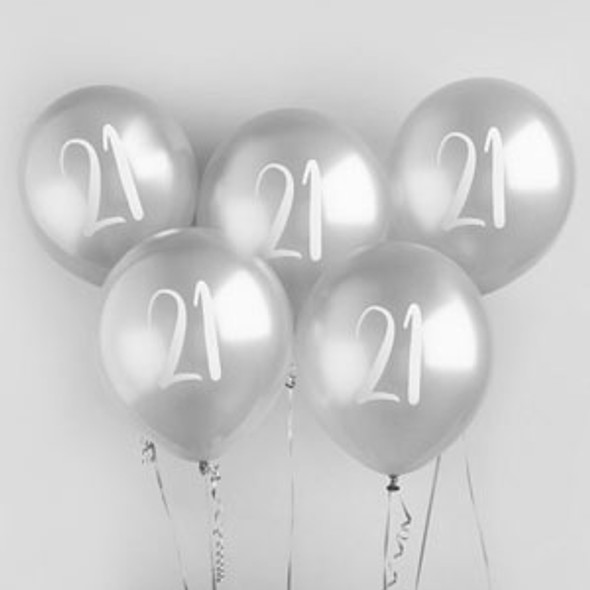 Silver Number 21 Balloons
