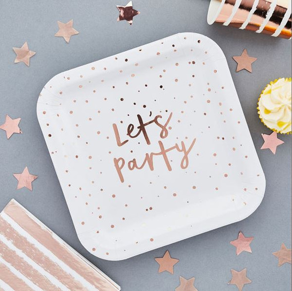 Rose Gold Let's Party Paper Plates
