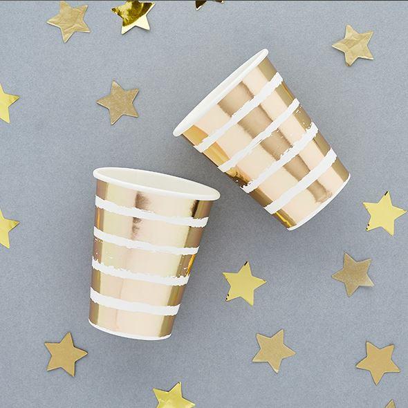 Gold Striped Paper Cups