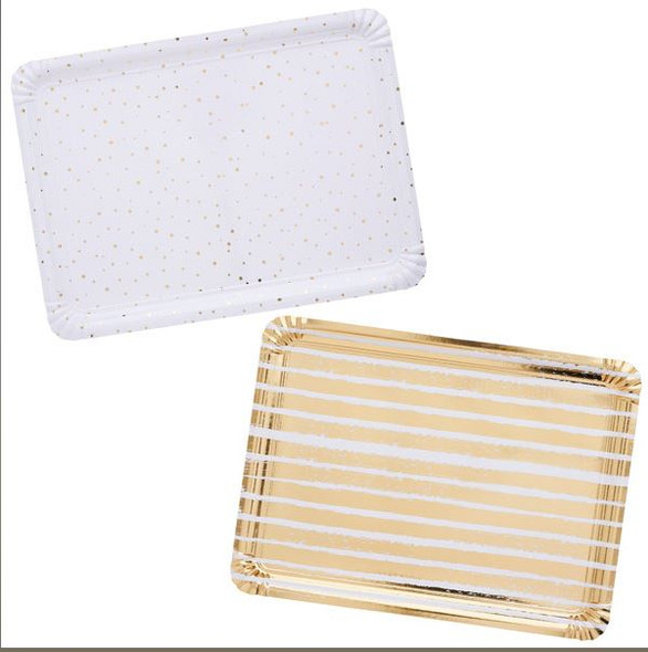 Gold Striped & Spotted Paper Trays