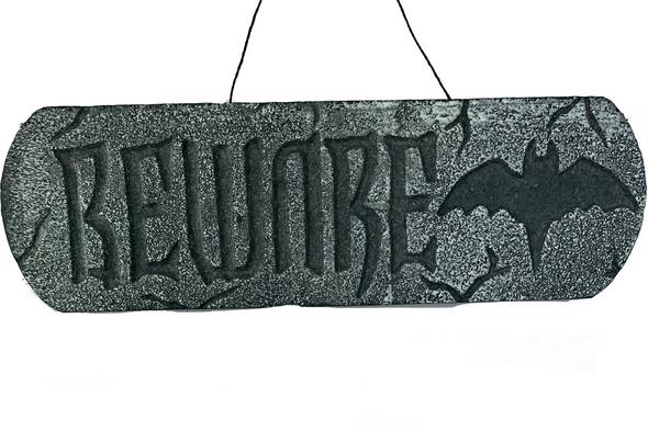 Graveyard Stone Beware Sign
