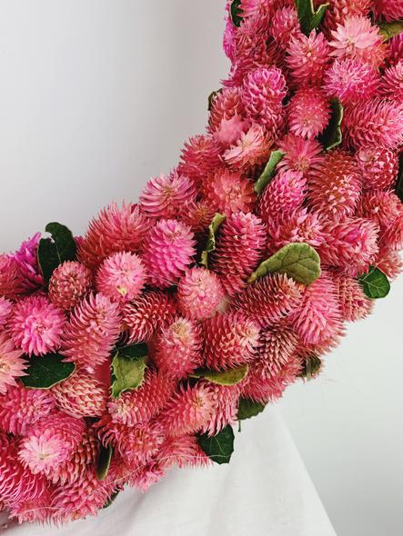 Indoor Pink Flower Bud Wreath Close Up