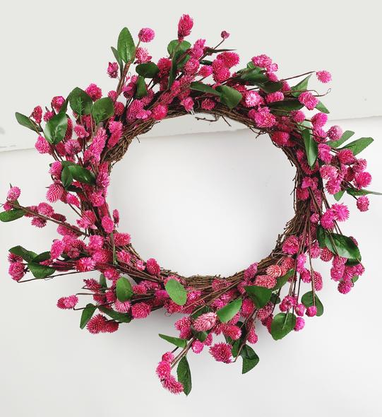 Indoor Pink Flower Wreath