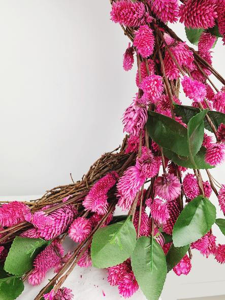 Indoor Pink Flower Wreath Close Up