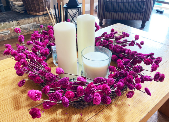 Indoor Hot Pink Flower Wreath On Table