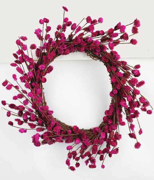 Indoor Hot Pink Flower Wreath