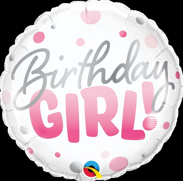 Birthday Girl Pink Dots Foil Balloon
