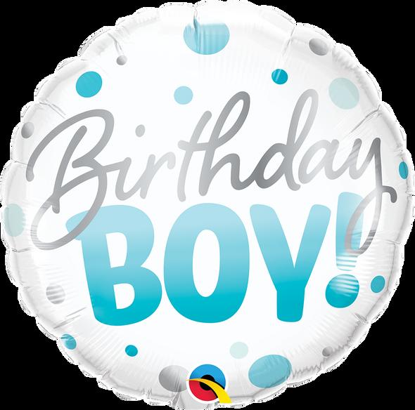 Birthday Boy Blue Dots Foil Balloon