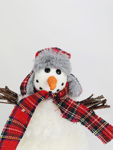 Winter Tartan Snowman Decoration Close