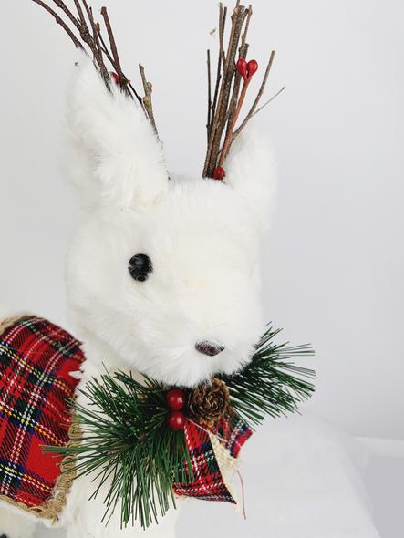 Winter Tartan Deer Decoration Close