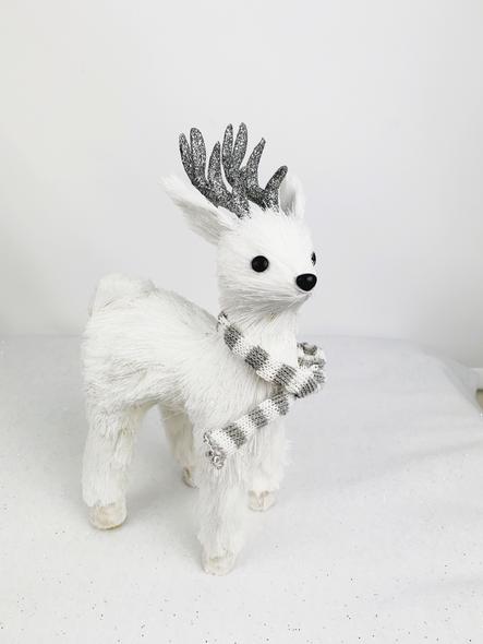Sparkling White Deer Decoration