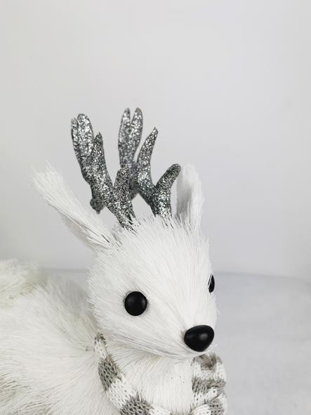 Sparkling White Deer Decoration Close Up