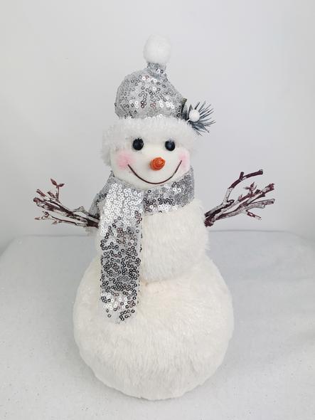 Shiny Silver Snowman Decoration