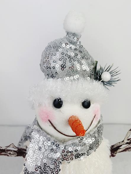 Shiny Silver Snowman Decoration Close Up