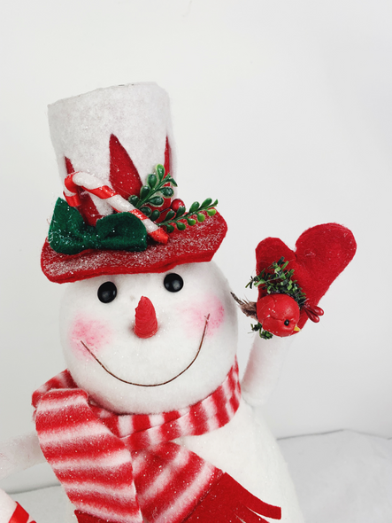 Christmas Red Snowman Decoration Close Up