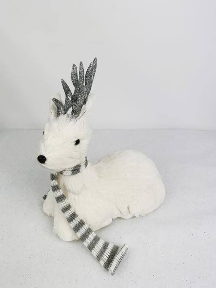 Sparkling White Sitting Deer Decoration