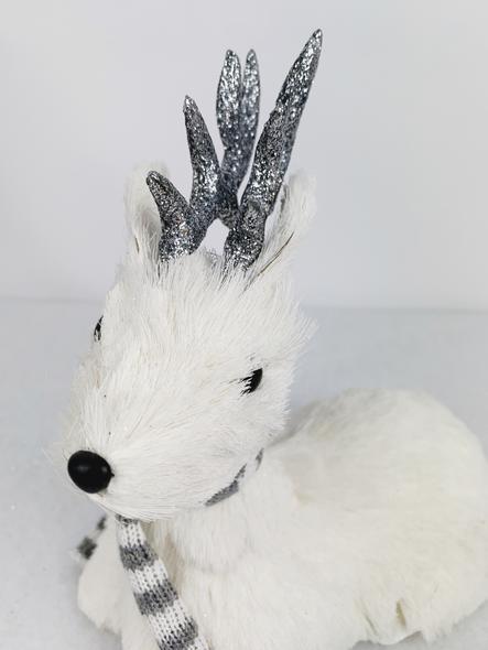 Sparkling White Sitting Deer Decoration Close up