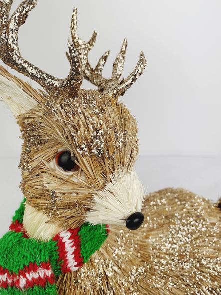 Winter Male Deer Decoration Close Up