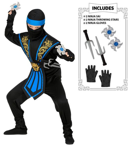 Blue Kombat Ninja Costume with Pack