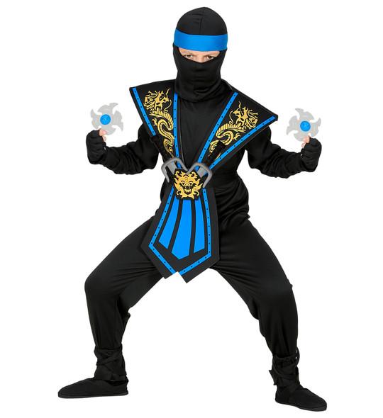 Blue Kombat Ninja Costume Weapons Pose