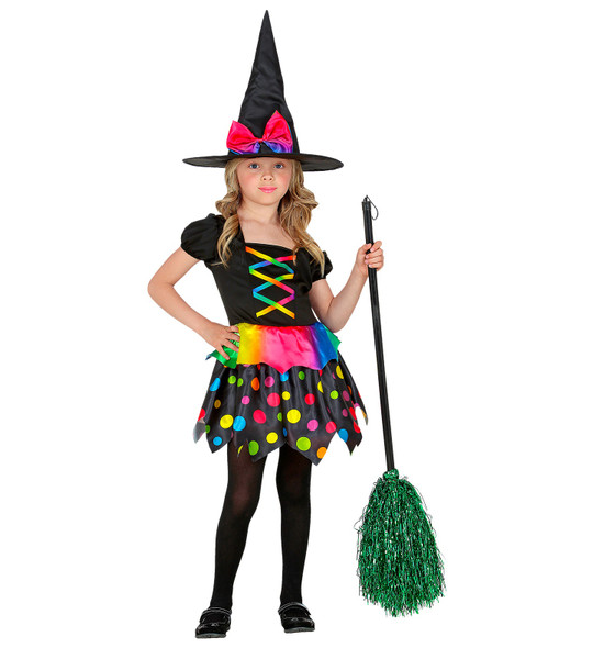 Kids Colourful Witch Costume with Broom