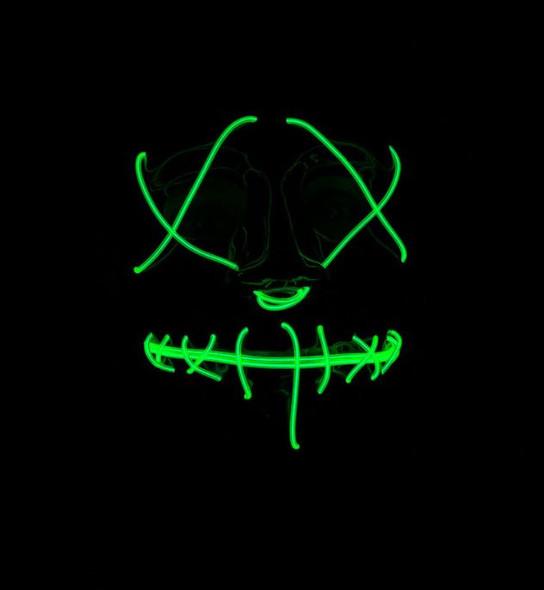 Neon EL Green Light Up Mask