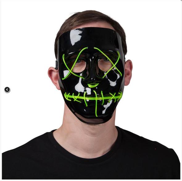 Neon EL Green Light Up Mask Man