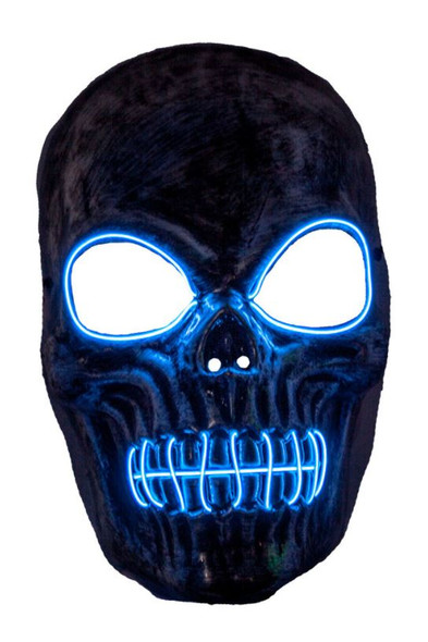 Skeleton EL Blue Light Up Mask