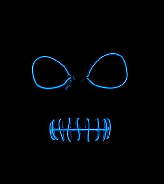 Skeleton EL Blue Light Up Mask Dark