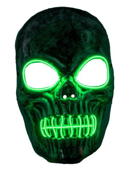 Skeleton EL Green Light Up Mask