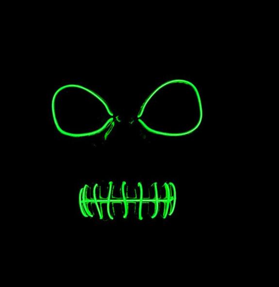 Skeleton EL Green Light Up Mask Dark