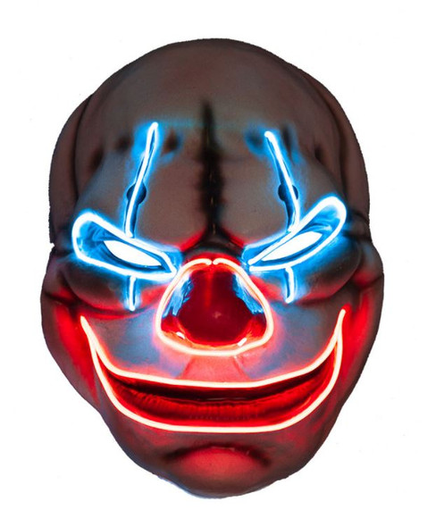 EL Creepy Clown Light Up Mask