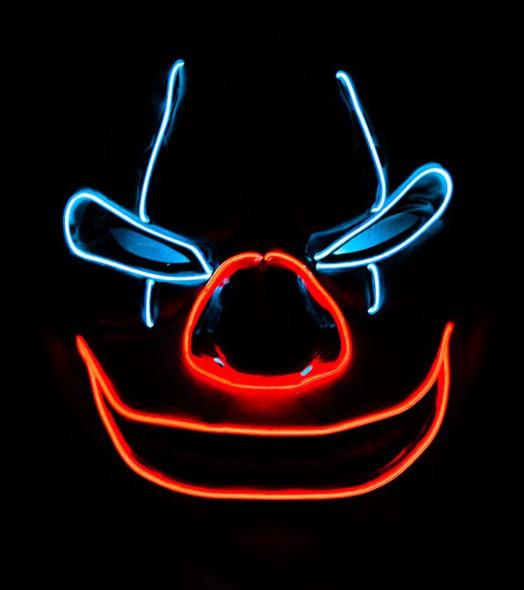 EL Creepy Clown Light Up Mask Dark
